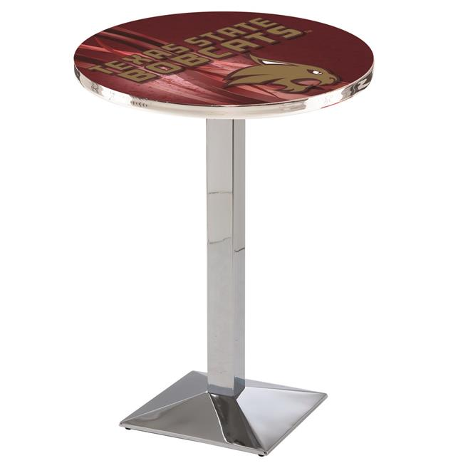 Holland Bar Stool L217C4228TexsSt-D2 42 in. Texas State Bobcats Pub Table with 28 in. Top, Chrome - image 1 de 1