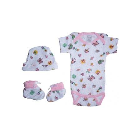 Onesie Booties Cap - Bambini Baby Girls Newborn Print Rib Knit  Onesie, Knotted Cap & Booties Gift Set 3-Piece