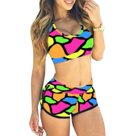 fccfcbe86d2 Womens Print Bikini Set Crop Top High Waist Shorts Beach Bathing Suit  Swimsuit - Walmart.com
