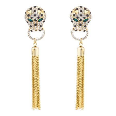 Lux Accessories Gold Tone Jaquar Head Pave Rhinestone Chain Tassel Earrings