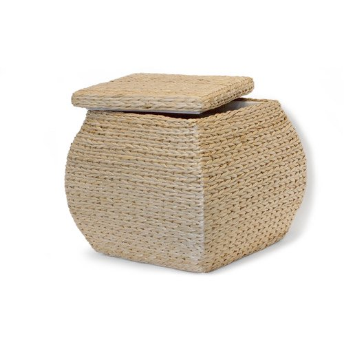 Soft Rush Lidded Rectangular Lined Storage Basket: Baum Square Lined Rush Storage Ottoman, Natural