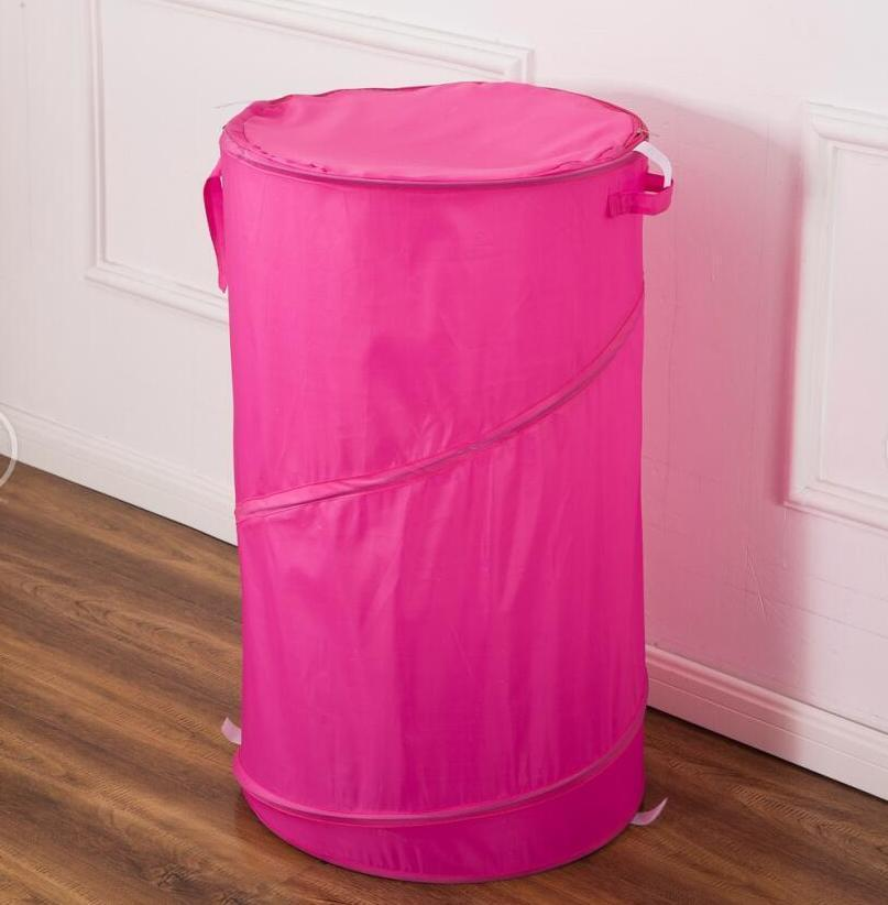 "Hot Pink 30"" Laundry Hamper basket - Pop Up Durable Wired Bath & Home"