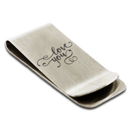 Stainless Steel Love You Calligraphy Swirl Engraved Money Clip Credit Card Holder