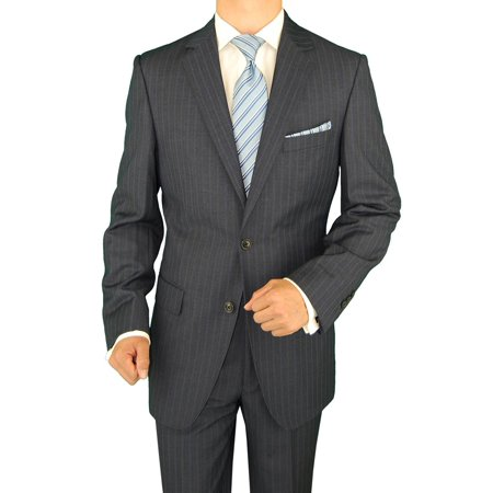 DTI GV Executive Men's Italian Suit Wool Two Button Modern Fit Striped 2 Piece Charcoal Stripe