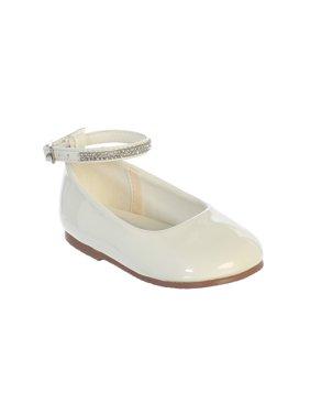 Girls Ivory Patent Rhinestone Encrusted Ankle Strap Flats