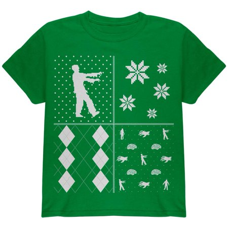 Zombies Festive Blocks Ugly Christmas Sweater Green Youth T-Shirt ()