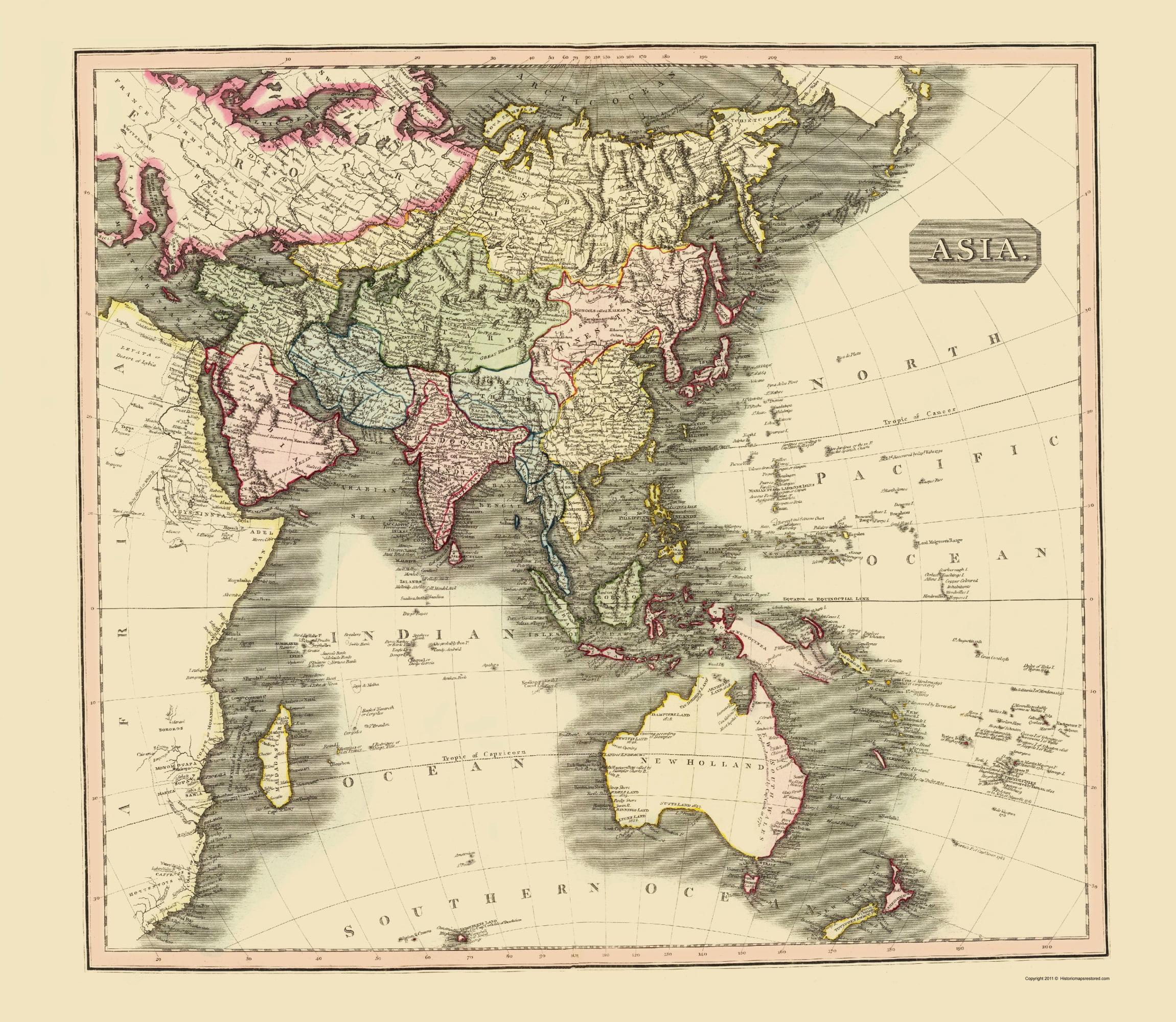 Map Of Asia Australia.Old Asia Map Asia Australia Thomson 1814 23 X 26 47