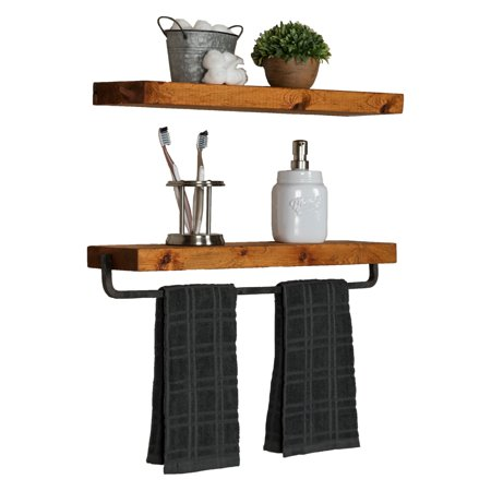 Del Hutson True Floating Shelf with Towel Bar - Set of 2