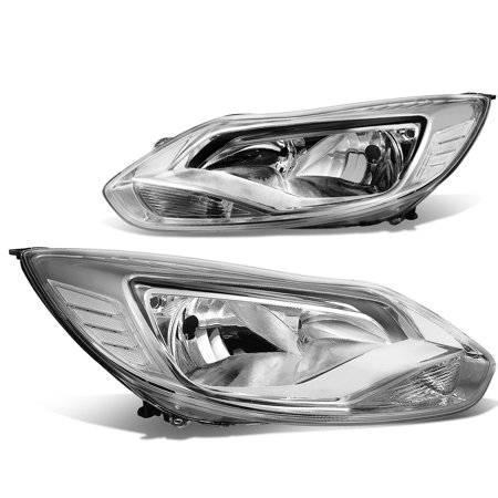 For 2012 to 2014 Ford Focus 3rd Gen Pair of Chrome Housing Clear Corner  Headlights Headlamp 13 Left+Right