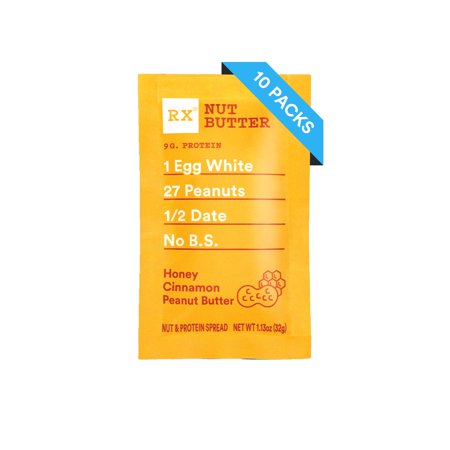 (10 Pack) RX Nut Butter Honey Cinnamon Peanut Butter, 1.13 oz packs ()