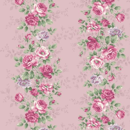 Sweet Rose~ Rose Bouquets Border Pink - Cotton Fabric by Quilt Gate Garden Cotton Quilt Fabric Border