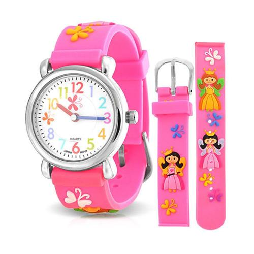 Bling Jewelry Pink Girls Princess Butterfly Kids Watch Stainless Steel Back