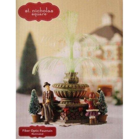 St Nicholas Christmas Village.St Nicholas Square Fiber Optic Fountain Christmas Village Accessory