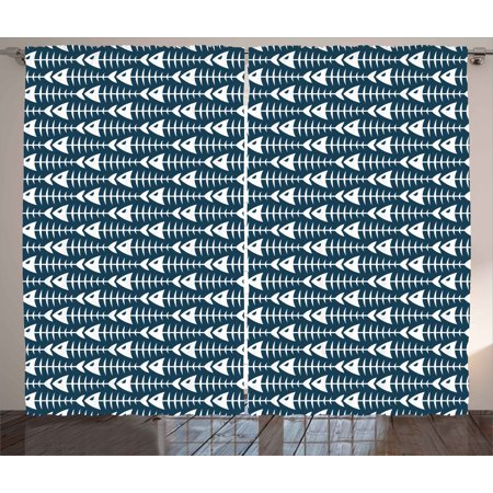 Animal Decor Curtains 2 Panels Set  Fish Bone Skeleton Pattern With Spines Sea Underwater Theme Illustration  Window Drapes For Living Room Bedroom  108W X 84L Inches  Dark Blue White  By Ambesonne