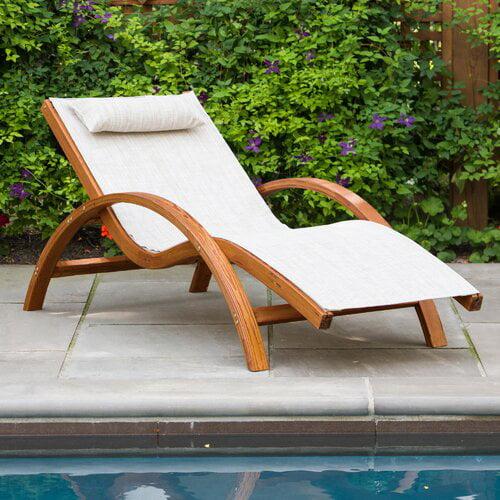 Leisure Season Sling Lounge Chair, Medium Brown