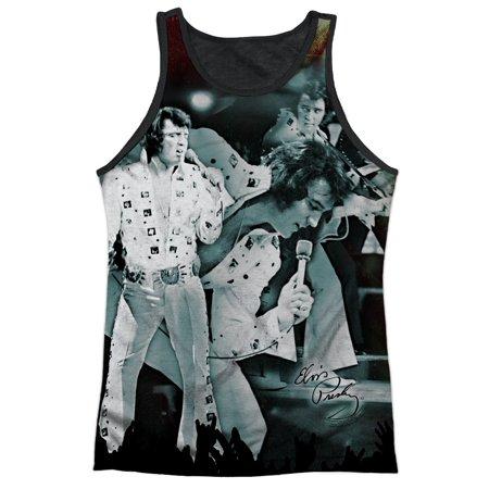 Elvis Presley King of Rock White Jumpsuit Adult Black Back Tank Top Shirt (Elvis Presley Jumpsuits)