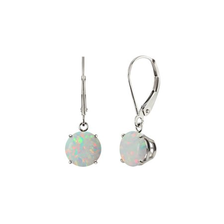 Sterling Silver 925 8mm Round Lab-Created Opal Leverback Dangle Earrings