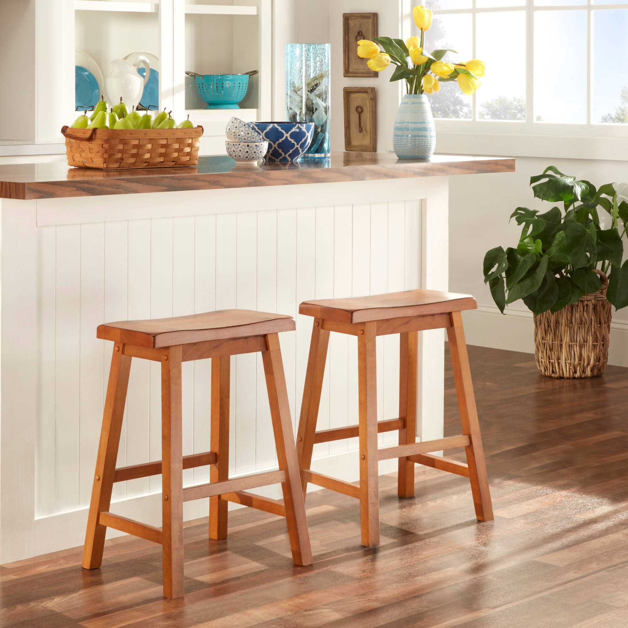 "Ashby Counter Stools 24"", Set of 2, Oak"