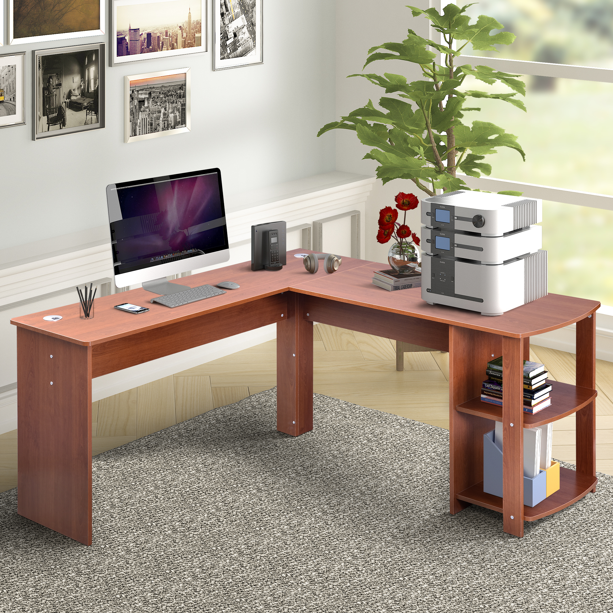 Merveilleux Harperu0026Bright Designs L Shaped Computer Desk With Side Storage,Light Brown