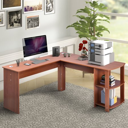 Merax L Shaped Computer Desk With Side Storage Light Brown