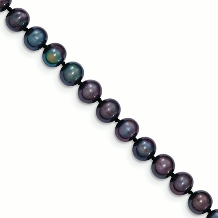 14k Yellow Gold 7mm Black Near Round Freshwater Cultured Pearl Chain Necklace Pendant Charm Gifts For Women For Her