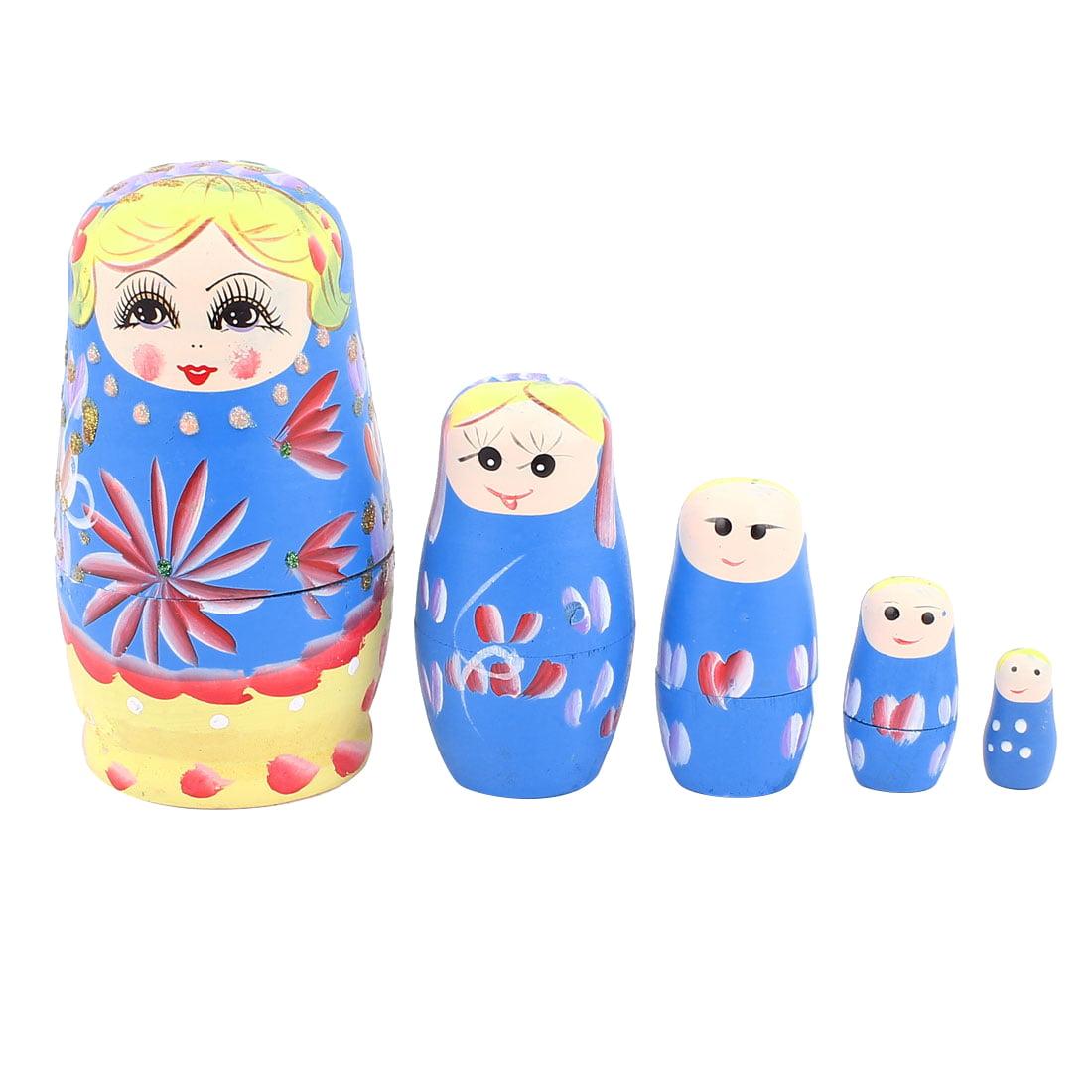 Unique Bargains Russian Babushka Flowers Painted Nesting Matryoshka Doll Deep Blue 5 in 1