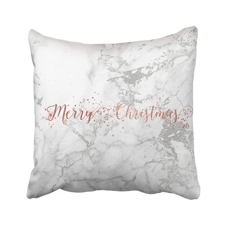 - ARTJIA Xmas Rose Gold Gray Silver White Marble Merry Christmas Pillowcase Pillow Cushion Cover 18x18 inches