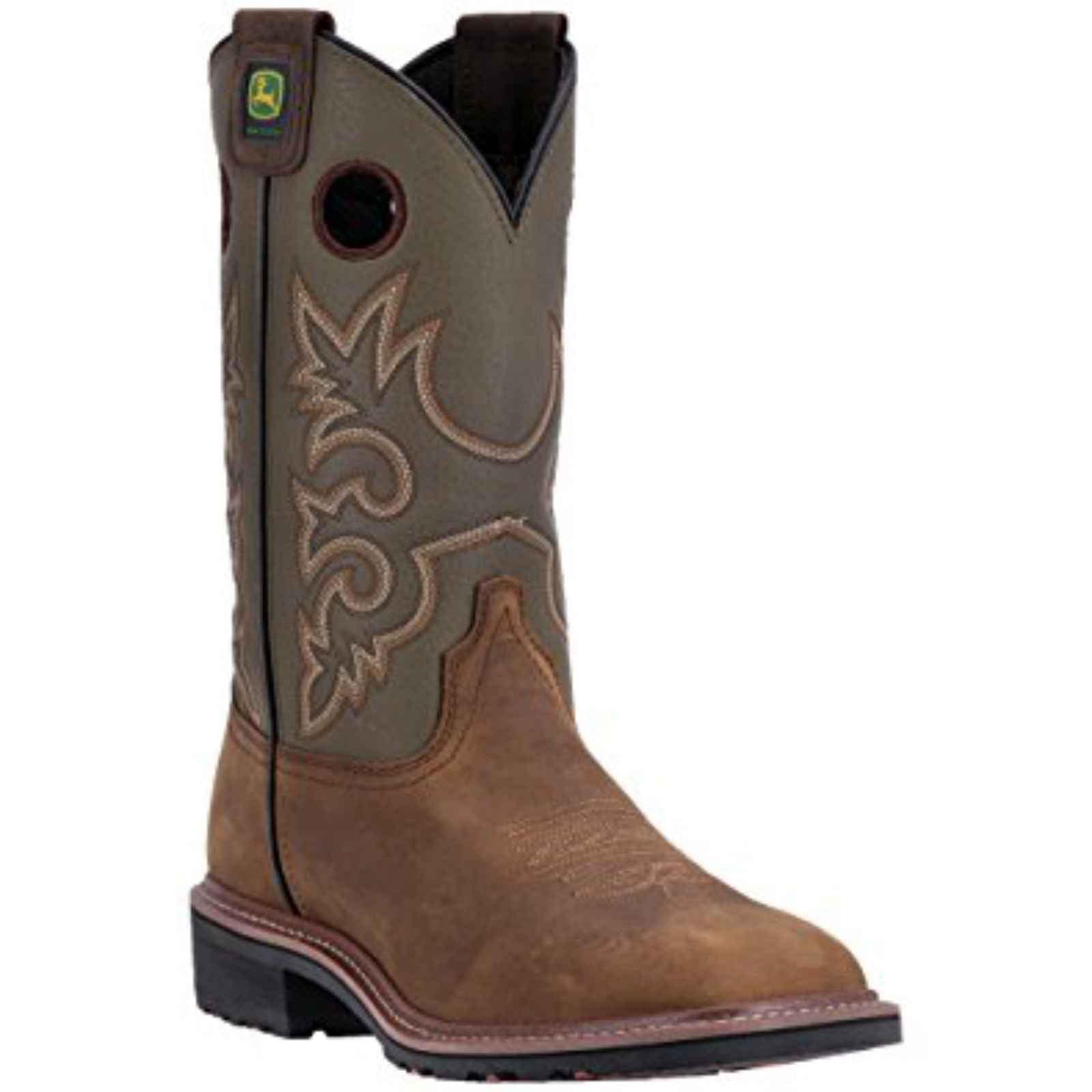 "John Deere Men's 11"" Brown Leather Pull-On Western Work Boots, JD4716 by John Deere"