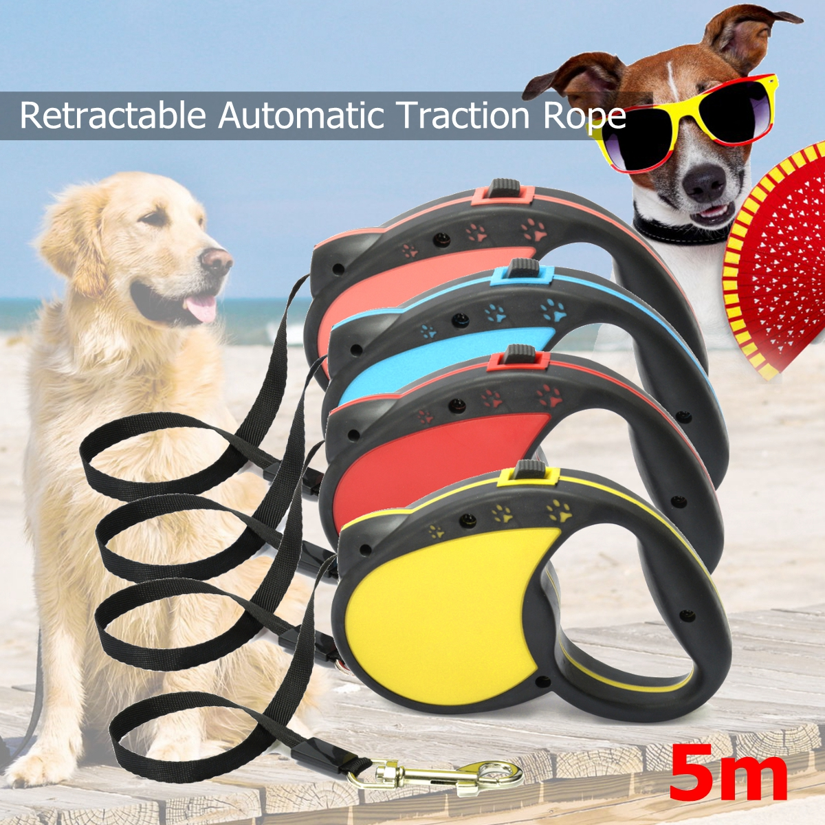 16ft Retractable Dog Leash Extendable Pet Dog Walking Training Leash Nylon Automatic Lead -4 Colors