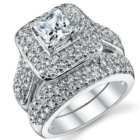 Women's 1 Carat Princess Cut Cubic Zirconia Sterling Silver 925 Wedding Engagement Ring Set Princess Cut Engagement Wedding Ring