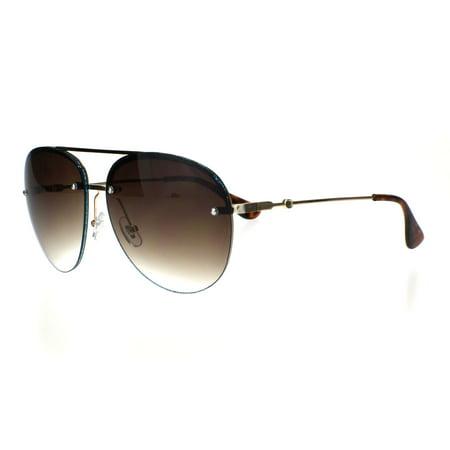 Womens Glitter Edge Trim Luxury Designer Rimless Pilots Sunglasses Gold Blue (Luxury Sunglasses With Glitter)