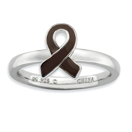 925 Sterling Silver Brown Enameled Awareness Ribbon Band Ring Size 8.00 Stackable Fine Jewelry Gifts For Women For Her - image 7 of 7