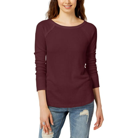 LUCKY BRAND Womens Burgundy Thermal Long Sleeve Scoop Neck Top  Size: L Glitter Scoop Neck Top