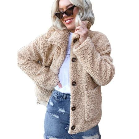 Women Cardigan Jacket Faux Fur Coat Parka Outwear Winter Warm Fluffy Overcoat Loose Lapel Neck Button Casual Outerwear