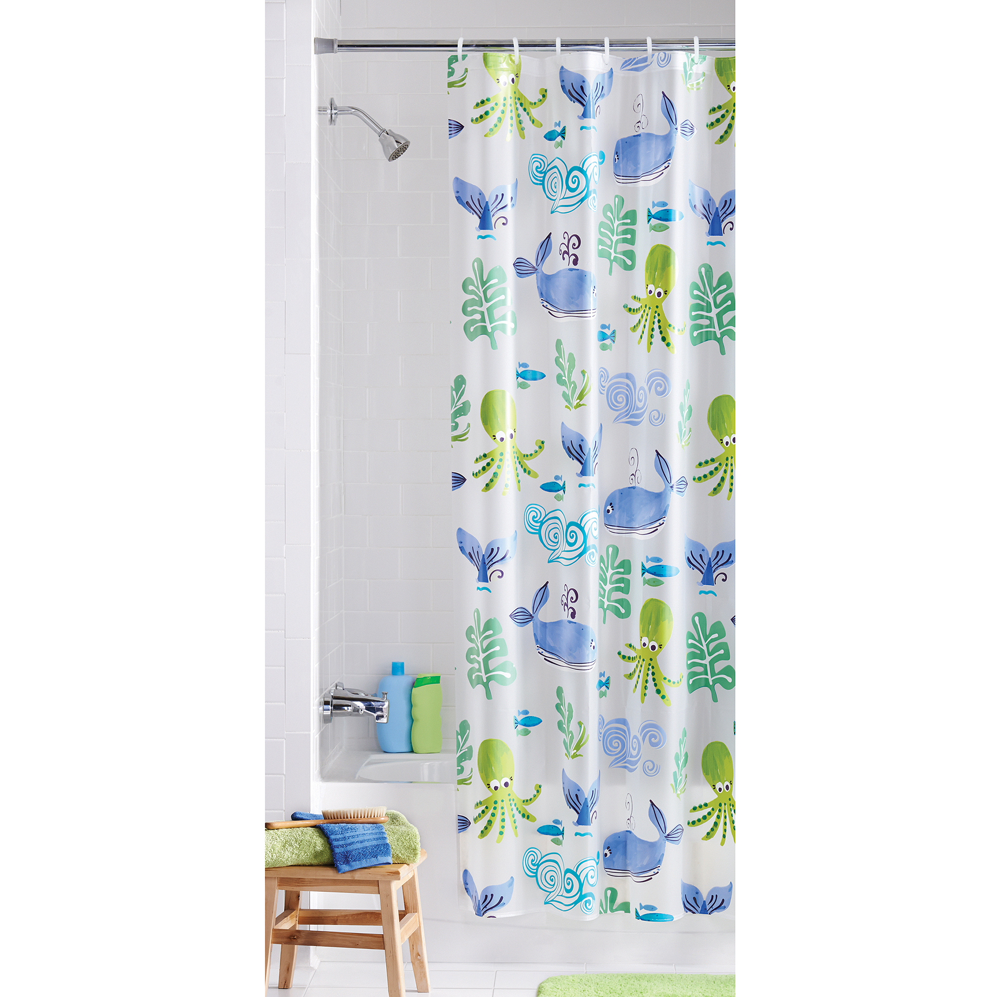 Mainstays Neptune PEVA Vinyl Shower Curtain - Walmart.com