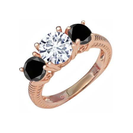 18K Rose Gold Plated Silver Ring Forever Brilliant Created Moissanite & (Adj Silver Ring)