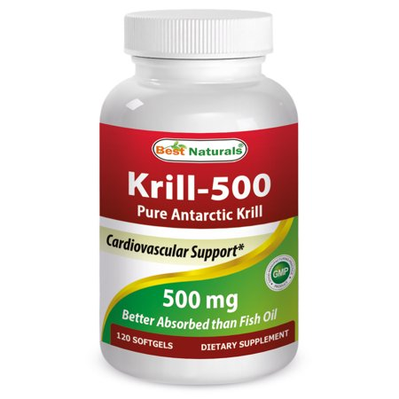 Best Naturals Krill-500 Pure Antarctic Krill Softgels, 500 Mg, 120