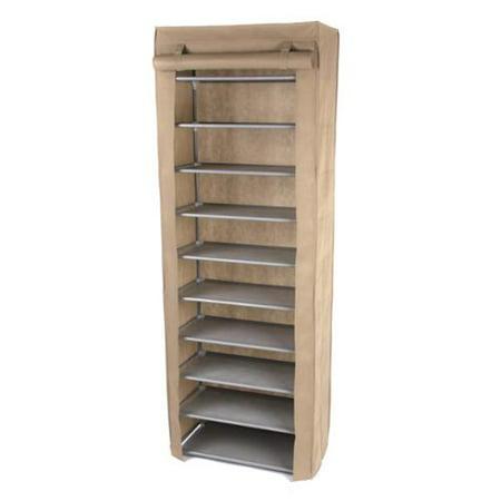 Gold sparrow beige 10 tier shoe rack for Front door shoe storage