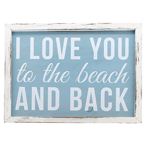 """NEW!~Wood Ornament~Mini Picture Holder Frame Sign~/""""I Love The Beach/"""""""