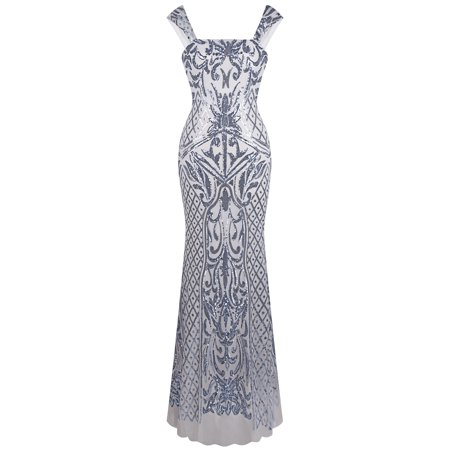 Angel-fashions Women's Sleeveless Silver Sequin Floral Pattern Mermaid Party Dress ()