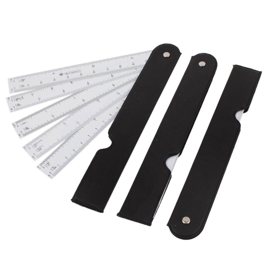 """Unique Bargains 3 Pcs Stainless Steel 8"""" Straight Ruler Educational Students Stationery Measuring Tool Silver Tone"""