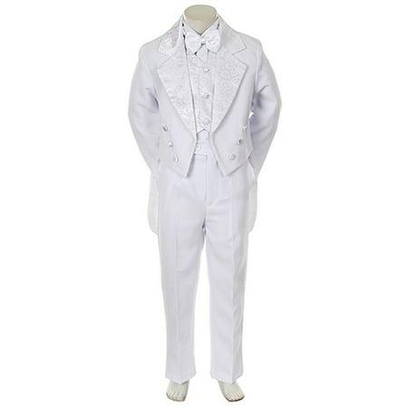 Angels Garment Toddler Little Boys White Notched Tuxedo 5 Pc Set 6M-20 2 Button Notch Boys Tuxedo