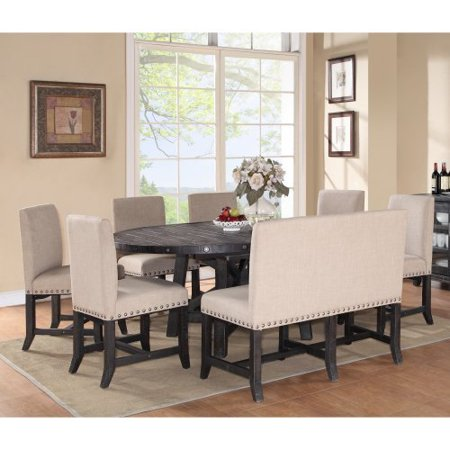 oval dining table set with upholstered chairs and settee