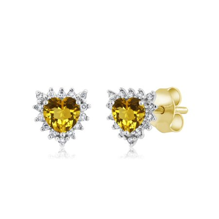 (18K Two Tone Gold 0.44 Ct Heart 4mm Yellow Citrine & Diamond Stud Earrings)