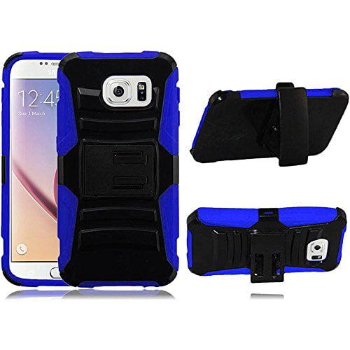 Samsung Galaxy S6 Case - Wydan Hybrid Rugged Kickstand Holster Belt Clip Case Hard Protective Heavy Duty Cover Black on Blue