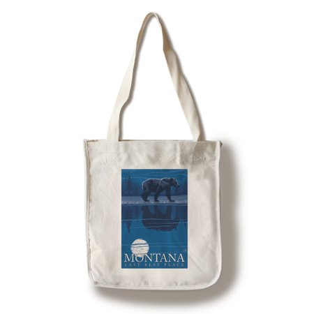 Montana, Last Best Place - Bear in Moonlight - Lantern Press Artwork (100% Cotton Tote Bag -