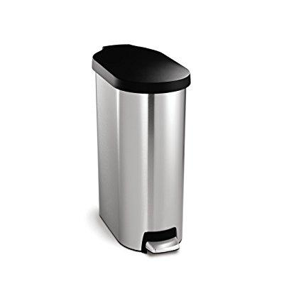 simplehuman 45 litre slim step can - plastic lid - stainl...