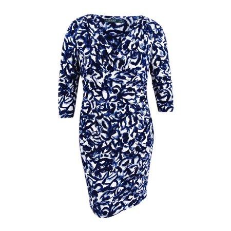Lauren Ralph Lauren Women's Floral Print Jersey Dress (16, Lighthouse Navy) ()