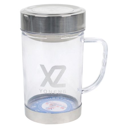 Unique Bargains Camping 420ml Capacity Metal Cap Water Container Clear Plastic Bottle Cup
