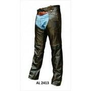 Men's Boy Motorcycle Biker Large Size Retro Brown Basic Lined Buffalo Leather Chaps
